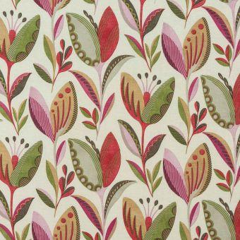Tissu coton épais fleuris rouge