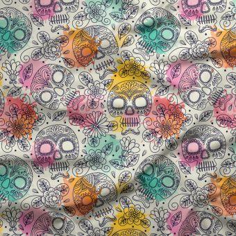 Tissu oxford pour chemise imperméable et recyclé tête de mort - La Panda Love Fabrics