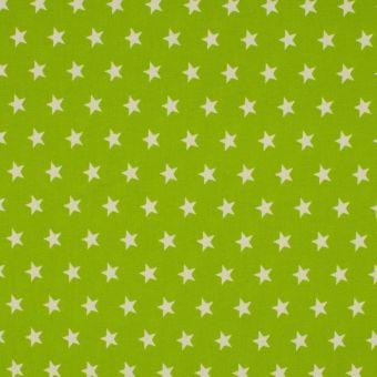 Tissu popeline de coton étoiles vert anis
