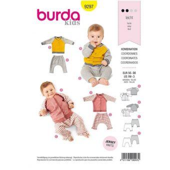 Patron Burda 9297 Ensemble bébés Veste sweat-shirt manches raglan à col droit et pantalon élastique -de 1 à 36 mois