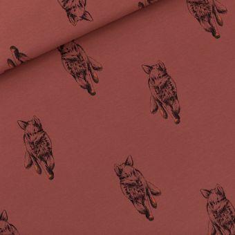 Tissu French terry sweat brun acajou motifs renards - See You At Six