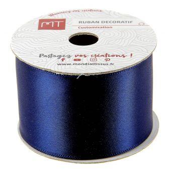 Bobine ruban satin bleu marine 38 mm