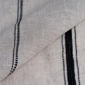 Tissu voile nairobi beige naturel à rayures brodées noires