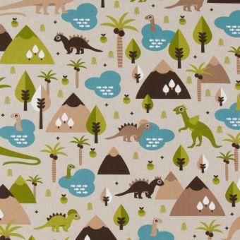 Tissu coton épais le monde des dinosaures multicolore