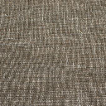 Tissu toile 100% lin taupe coloris métal/argent