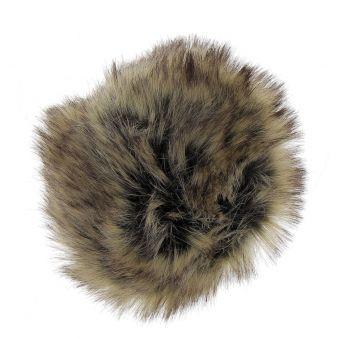 Pompon fausse fourrure marron 10 cm