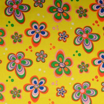 Tissu satin carnaval fleurs jaune