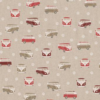 Tissu bachette effet lin motifs vans