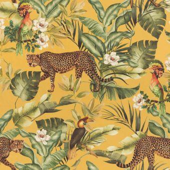 Tissu velours léopard jungle jaune