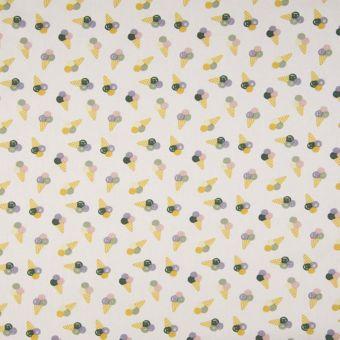 Tissu popeline coton beige cornets de glace