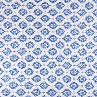 Tissu coton provençal sormiou palmettte bleu