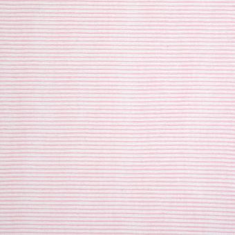 Tissu maille blanc rayures roses