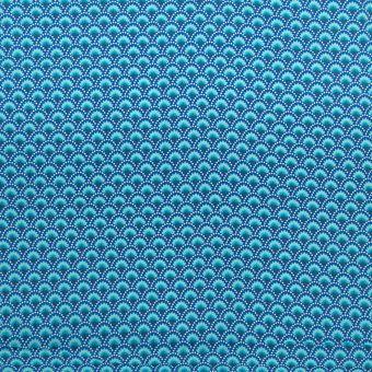 Popeline de coton Petit Pan wasabi bleu à motifs éventails japonisants