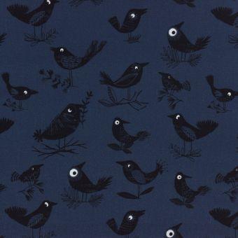 Tissu popeline de coton bleu marine imprimé oiseaux noirs Dashwood Studio