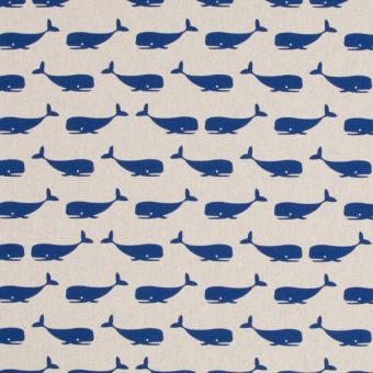 Tissu coton épais baleines bleues