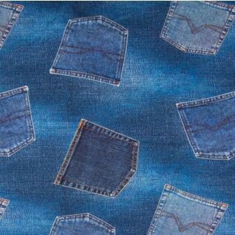 Tissu jersey de coton à imprimé poches de jeans bleu