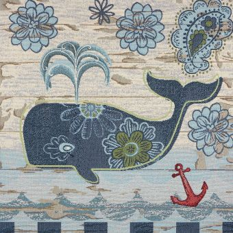 Carré de tissu jacquard baleine bleu