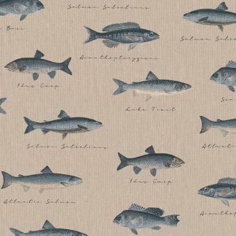 Tissu bachette effet lin motifs petits poissons