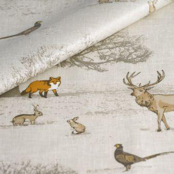 Tissu enduit épais animaux taupe