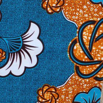 Tissu wax bleu fleur de mariage - Karabashop