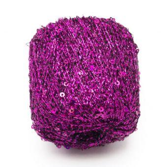 Pelote à tricoter brillante pluie d'étoiles rose - Plassard