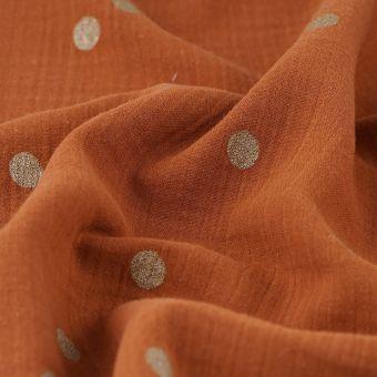 Tissu coton lange terra cotta à pois dorés