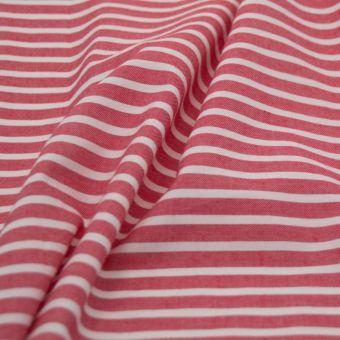 Tissu chambray bio rayures rouge