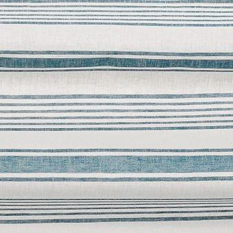 Tissu épais rayures horizontales Baya écru et bleu canard