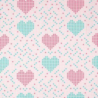 Tissu popeline coton rose cœur et croix