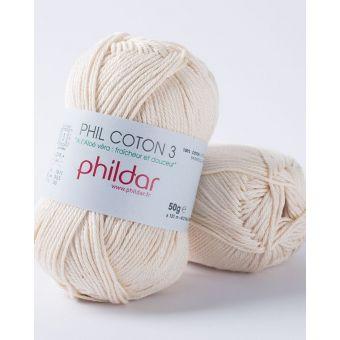 Pelote de fil à tricoter Phildar Coton 3 écru