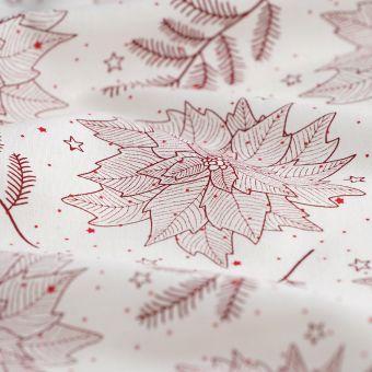 Tissu coton écru étoile de noël