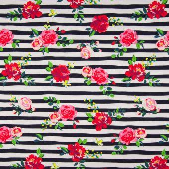 Tissu jersey de coton motifs rayures roses blanc noir