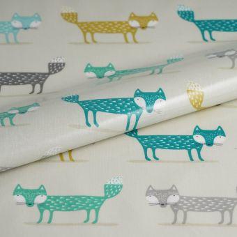 Tissu enduit épais renards bleu