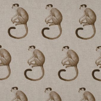 Tissu coton épais singe beige