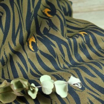 Tissu crêpe de viscose Zebra kaki - Eglantine et Zoé