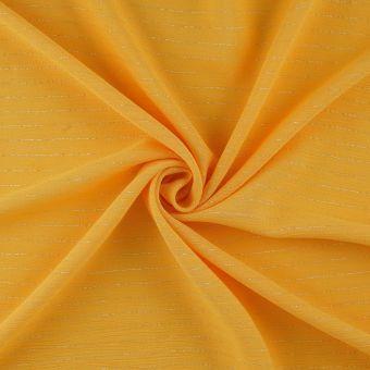 Tissu crêpe viscose rayé argenté moutarde