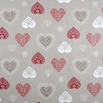 Tissu coton enduit cœurs montagne lin