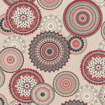 Tissu coton épais Mandala rouge