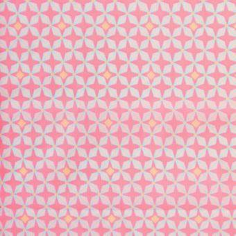 "Tissu Petit Pan coton enduit brillant ""Hélium"" étoiles rose clair"