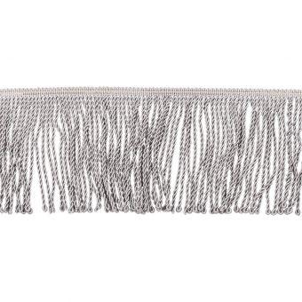 Galon à frange torse gris aluminium 10 cm