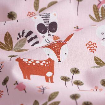 Tissu coton animaux rose