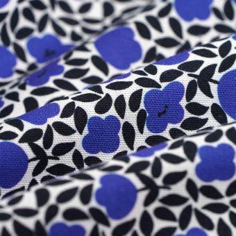 Tissu coton épais fleurs découpées bleues