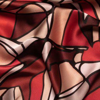 Tissu satin de soie marron imprimé graphique fait en Italie
