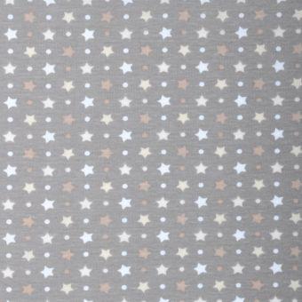Tissu PUL pour couches lavables imprimé étoiles taupe