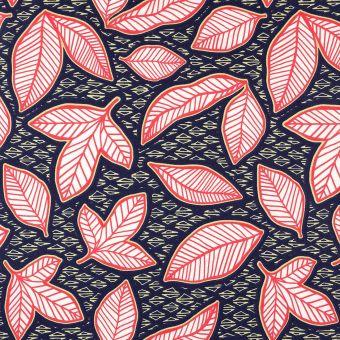 Tissu cretonne enduite feuilles wax