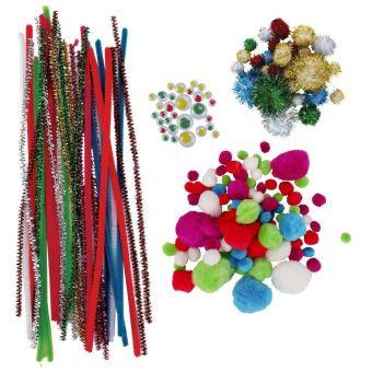Pompons et chenilles + accessoires 400 pièces