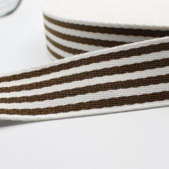 Sangle pour sac rayures bicolores brun 38 mm