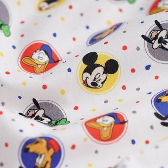 Tissu popeline de coton monde de Mickey blanc - Disney