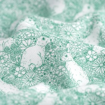 Tissu molleton sweat french terry coton lapins