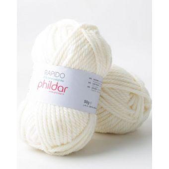 Pelote de fil à tricoter Phildar Rapido écru